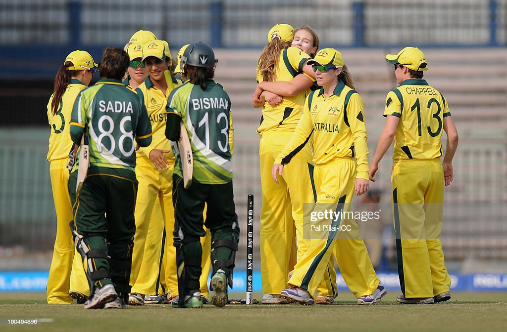 The Australia team celebrate after winning the second match of ICC Womens World Cup between Australia and Pakistan, played at the Barabati stadium on February 1, 2013 in Cuttack, India.