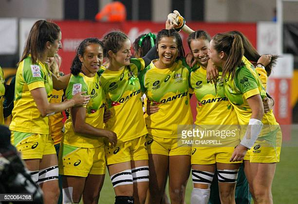 The Australia team celebrate winning the cup after defeating New Zealand at the Women's 2016 USA Sevens Rugby Tournament in Kennesaw Georgia on April...