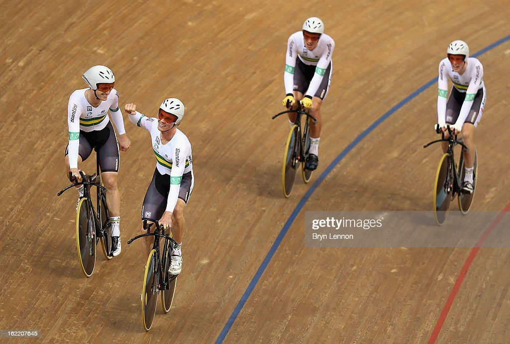 The Australia team celebrate winning the Men's Team Pursuit Final during day one of the UCI Track World Championships at the Minsk Arena on February 20, 2013 in Minsk, Belarus.