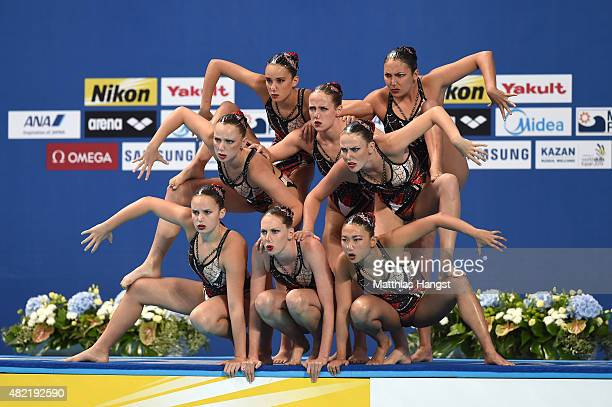 The Australia team compete in the Women's Team Free Synchronised Swimming Preliminary on day four of the 16th FINA World Championships at the Kazan...