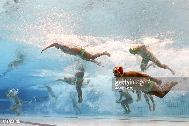 The Australia team enter the pool during the Men's Water Polo preliminary round match between Brazil and Australia on day ten of the Budapest 2017...