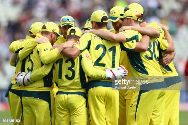 The Australia team huddle ahead of play during the ICC Champions Trophy match between Australia and New Zealand at Edgbaston on June 2 2017 in...