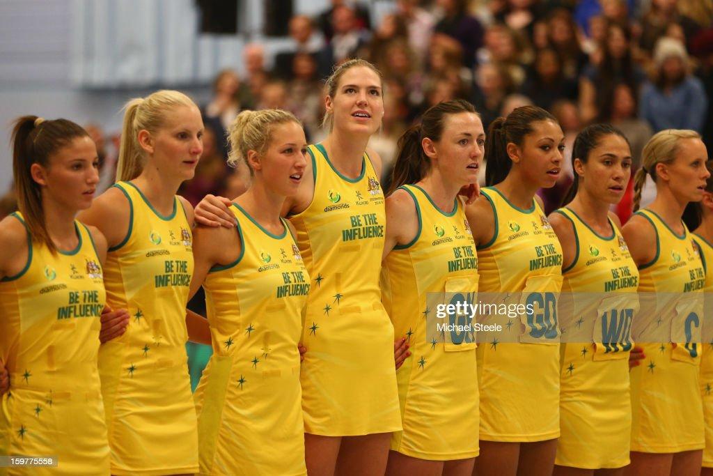 The Australia team lineup ahead of the England v Australia International Netball Series match at the University of Bath on January 20, 2013 in Bath, England.