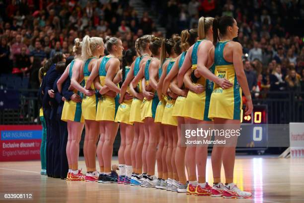 The Australia team lineup ahead of the start of the Quad Series netball match between the England Roses and the Australia Diamonds at the SSE Arena...