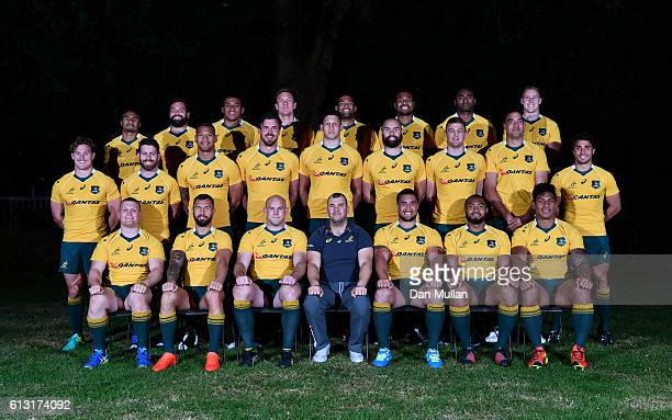 The Australia team named to face Argentina pose for a group photo with Michael Cheika Head Coach of Australia following the Australia Captain's Run...