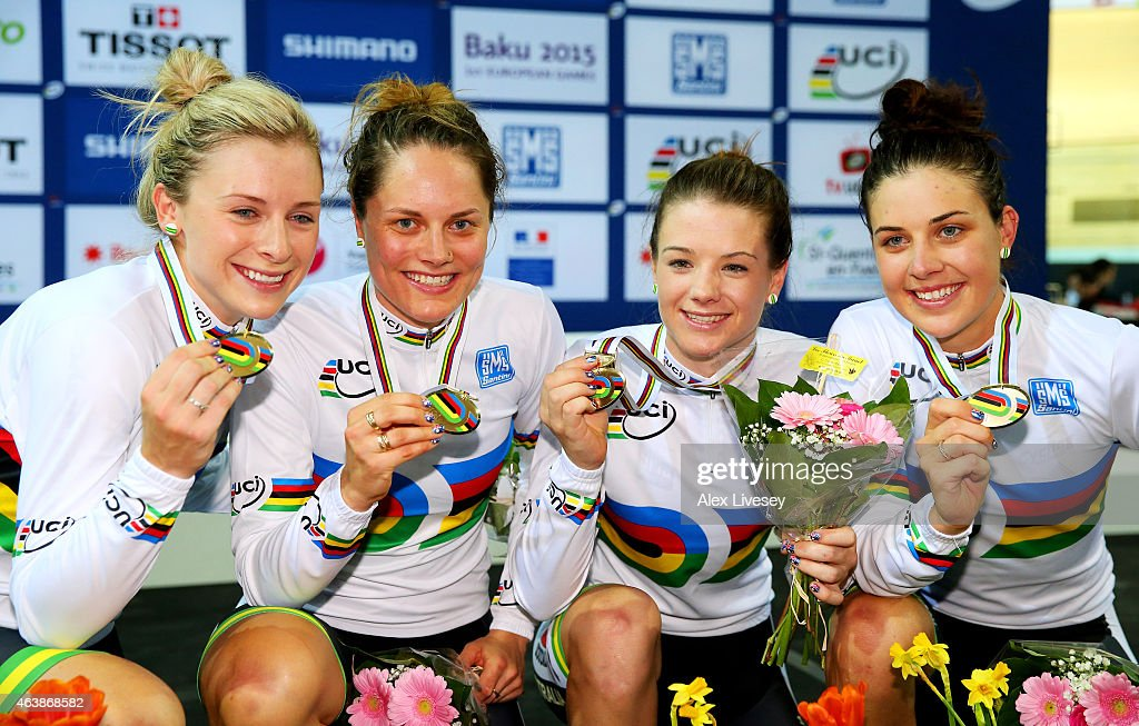 The Australia team of Annette Edmondson Ashlee Ankudinoff Amy Cure and Melissa Hoskins celebrate with the gold medals won in the Women's Team Pursuit...