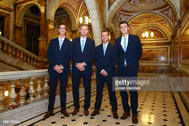 The Australia team of Thanasi Kokkinakis Sam Groth Lleyton Hewitt and Bernard Tomic pose for a photo at Glasgow City Chambers on September 16 2015 in...