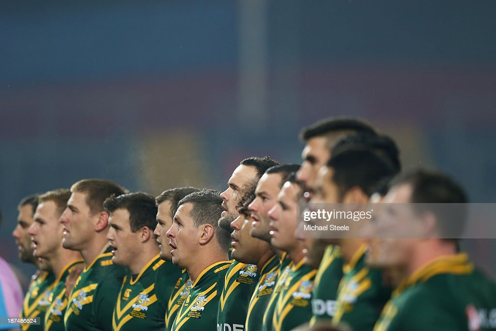 The Australia team sing the national anthem during the Rugby League World Cup Group A match between Australia and Ireland at Thomond Park on November 9, 2013 in Limerick, .