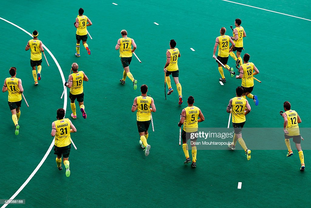 The Australia team warm up prior to the Fintro Hockey World League Semi-Final match between Australia and Great Britain held at KHC Dragons Gemeentepark Stadium on July 3, 2015 in Brasschaat, Belgium.
