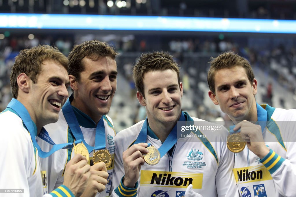 The Australia team with (L-R) Matthew Targett, Matthew Abood, James Magnussen and <a gi-track='captionPersonalityLinkClicked' href=/galleries/search?phrase=Eamon+Sullivan&family=editorial&specificpeople=769294 ng-click='$event.stopPropagation()'>Eamon Sullivan</a> celebrate winning the gold medal in the Men's 4x100m Freestyle Relay during Day Nine of the 14th FINA World Championships at the Oriental Sports Center on July 24, 2011 in Shanghai, China.