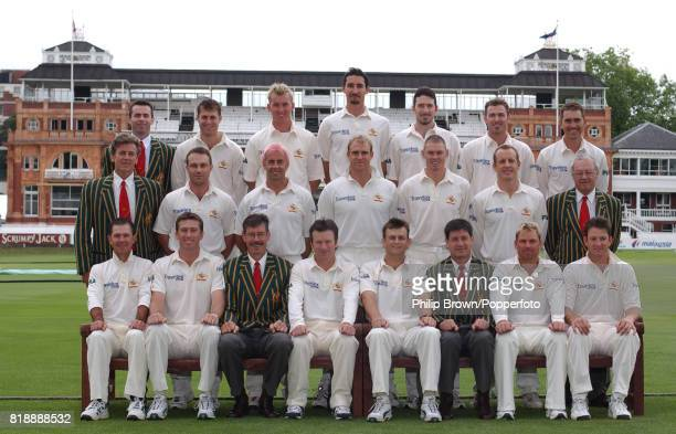 The Australia Test cricket squad before the 2nd Test match between England and Australia at Lord's Cricket Ground London 18th July 2001 Back row left...