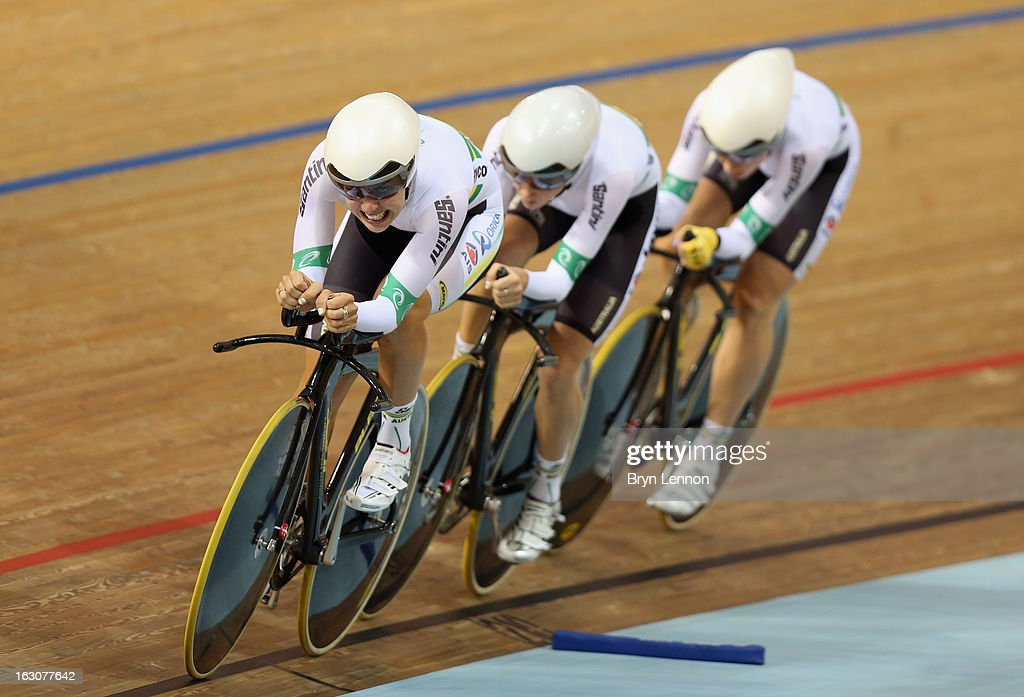 The Australia Women's Pursuit team in action during day two of the UCI Track World Championships at the Minsk Arena on February 21, 2013 in Minsk, Belarus.