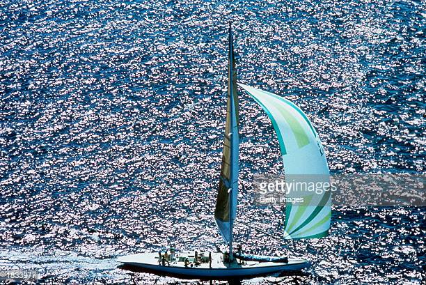 The Australian 11 sails as the crew train off Newport before the America's Cup race 1983 held in NewportUSA in 1983