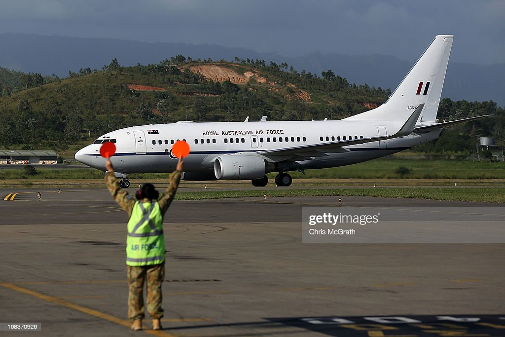 The Australian Air Force plane carrying Australian Prime Minister Julia Gillard touches down at Jackson International Airport on May 9 2013 in Port...