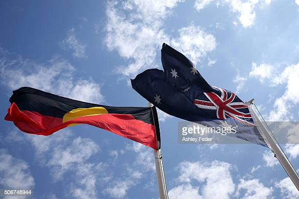 The Australian and Aboriginal flags displayed on January 26 2016 in Avalon Australia Australia Day formerly known as Foundation Day is the official...