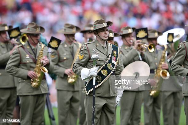 The Australian Army band play during the Anzac Day ceremony before the round eight NRL match between the Sydney Roosters and the St George Illawarra...