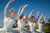 The Australian Ballet dancers pose for photographs at The Australian Ballet launch of its community program 'Ballet Under the Stars' which includes a...