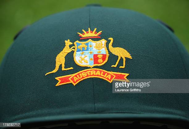 The Australian coat of arms is pictured on a helmet during day one of the 1st Investec Ashes Test match between England and Australia at Trent Bridge...