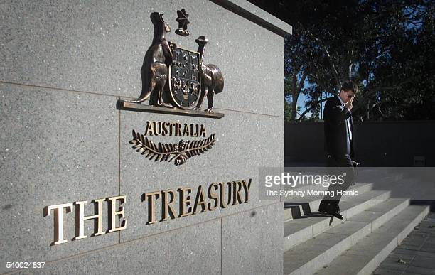 The Australian coat of arms on a wall outside the the Department of Treasury Canberra 19 November 2001 SMH Picture by JACKY GHOSSEIN