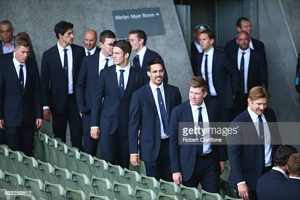 The Australian cricket team arrive prior to the Opening Ceremony ahead of the ICC 2015 Cricket World Cup at the Myer Music Bowl on February 12 2015...