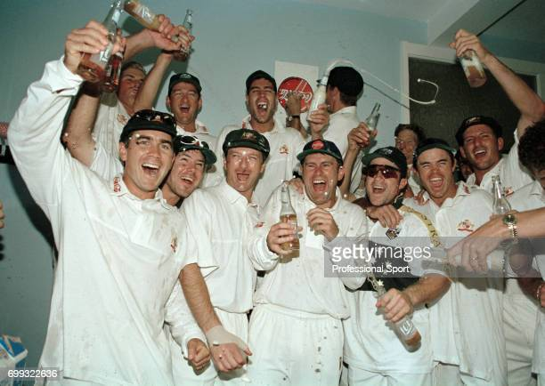 The Australian cricket team celebrate winning the 3rd Test match between England and Australia at Old Trafford Manchester by 268 runs 7th July 1997...