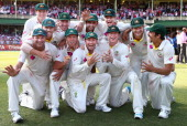 The Australian Cricket Team celebrate with the urn during day three of the Fifth Ashes Test match between Australia and England at Sydney Cricket...