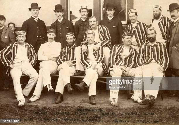 The Australian cricket team during their tour of England circa June 1886 Left to right back row Farrands Billy Trumble Sammy Jones William Bruce John...