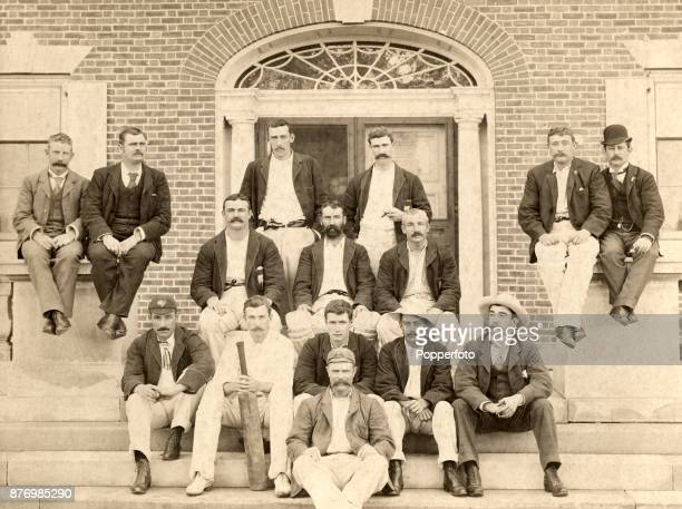 The Australian cricket team during their Tour of the USA at the Manheim Ground in Philadelphia circa 1893 Left to right back row Arthur Coningham...