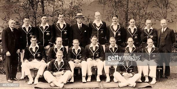The Australian cricket team in England circa 1934 Back row left to right W Feguson Bill Brown Ernest Bromley Tim Wall H Bushby Bill O'Reilly Chuck...