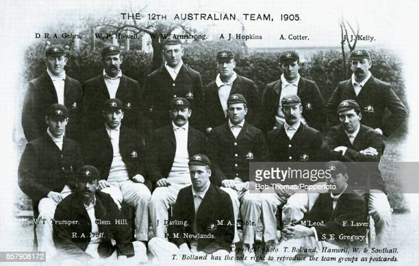 The Australian cricket team in England which played five Test matches against England drawing three and losing two circa May 1905 Left to right back...