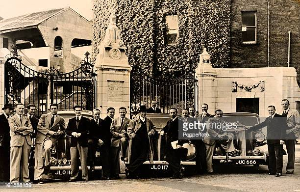 The Australian cricket team outside the Grace Gates at Lord's cricket ground with the three Humber Super Snipes automobiles that were made available...
