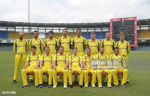The Australian cricket team poses for a group photo before a practice session at the R Premadasa Cricket Stadium in Colombo on August 19 2016...