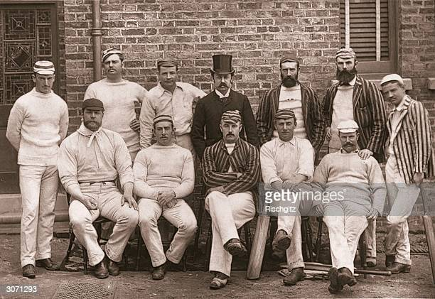 The Australian cricketing team during a visit to London From left to right they are F J Ferris A H Jarvis J Worrall manager C W Beal J C Blackham H F...