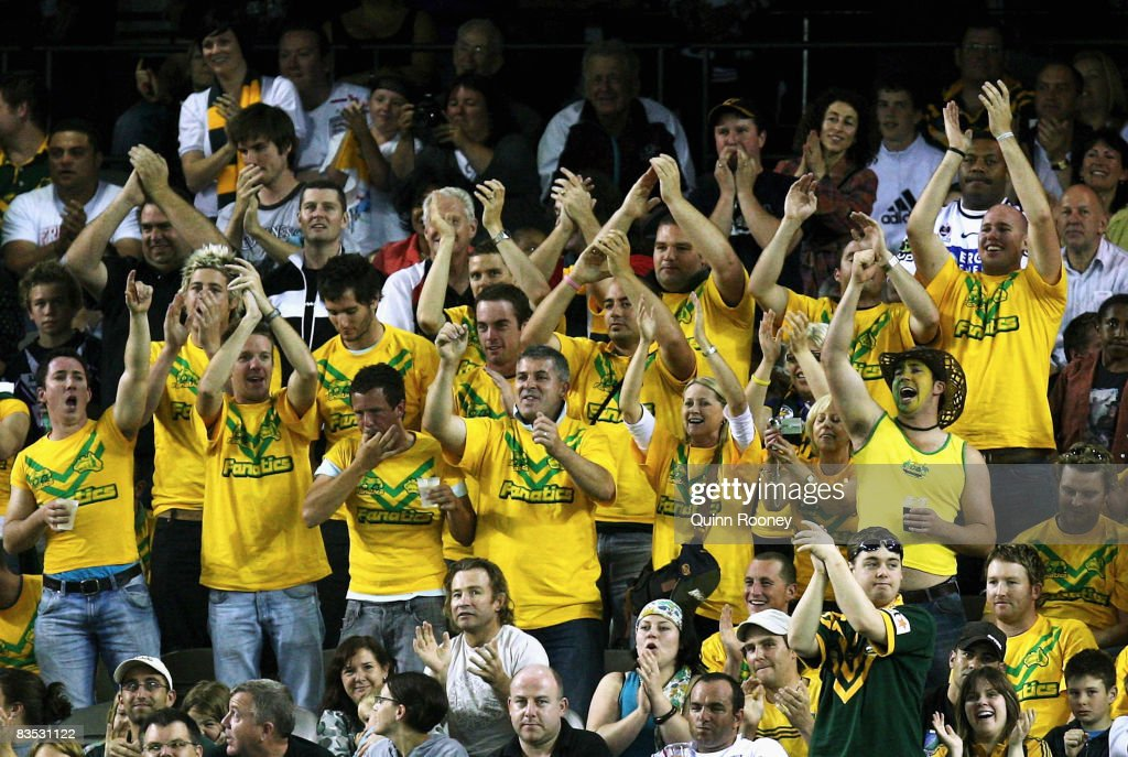 The Australian crowd shows their support for the Kangaroos during the 2008 Rugby League World Cup Pool 1 match between the Australian Kangaroos and...