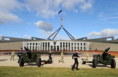 The Australian Defence Forces prepare for a 21gun salute at Parliament House in Canberra on June 20 2011 The building was designed by...