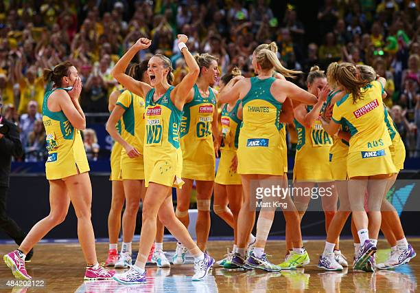 The Australian Diamonds celebrate victory in the 2015 Netball World Cup Gold Medal match between Australia and New Zealand at Allphones Arena on...