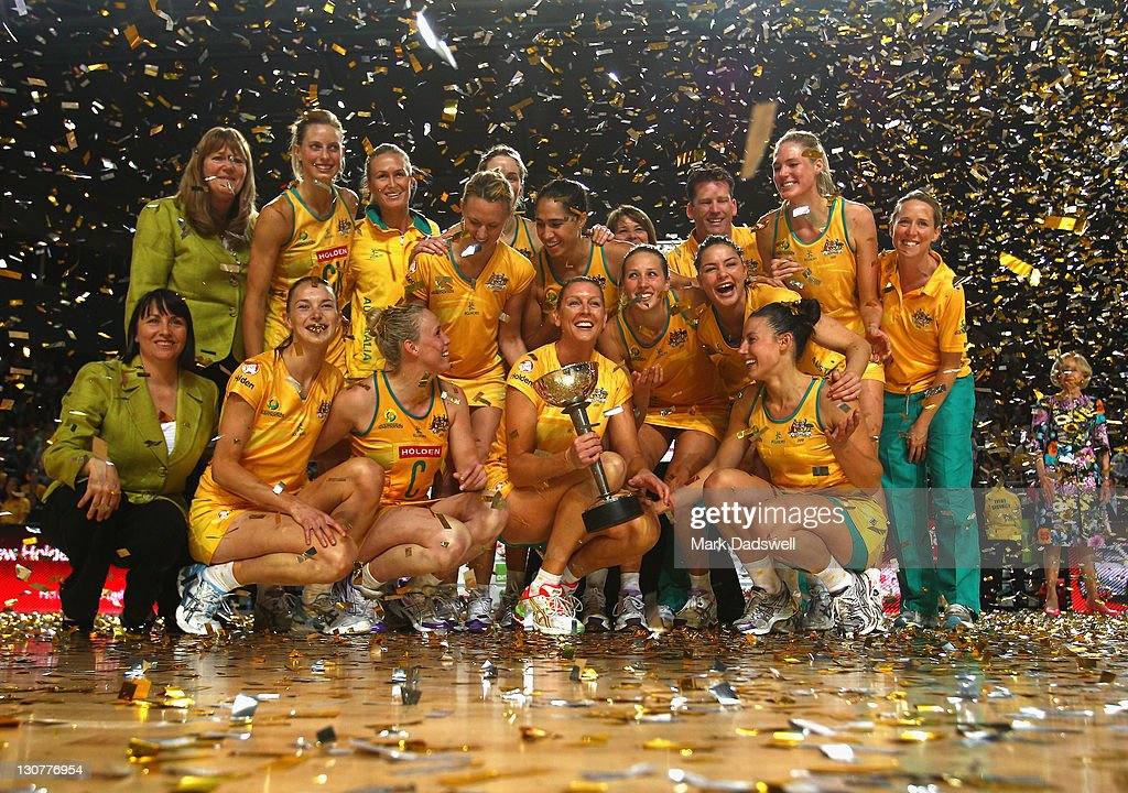 The Australian Diamonds celebrate with the Constelation Cup after winning game three of the International Test match series between the Australian...