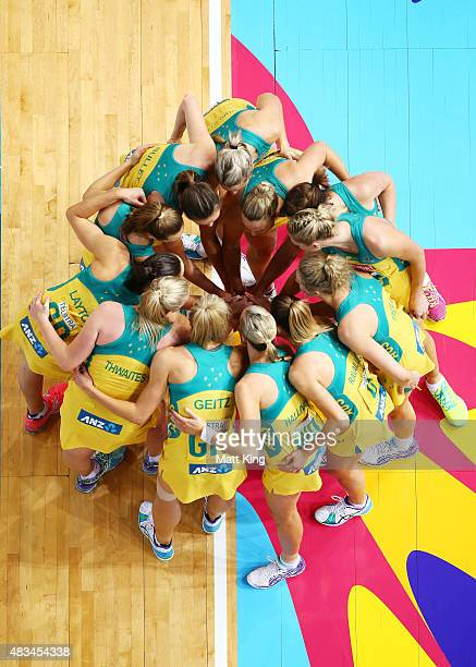 The Australian Diamonds form a huddle during the 2015 Netball World Cup match between Australia and New Zealand at Allphones Arena on August 9 2015...