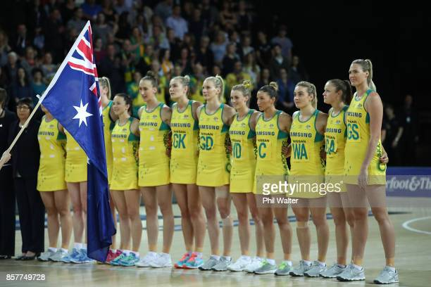 The Australian Diamonds sing the anthem before the 2017 Constellation Cup match between the New Zealand Silver Ferns and the Australia Diamonds at...