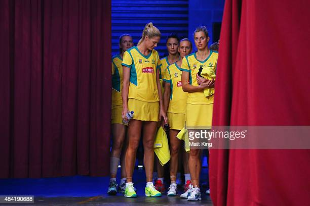 The Australian Diamonds wait to enter the arena before the 2015 Netball World Cup Gold Medal match between Australia and New Zealand at Allphones...