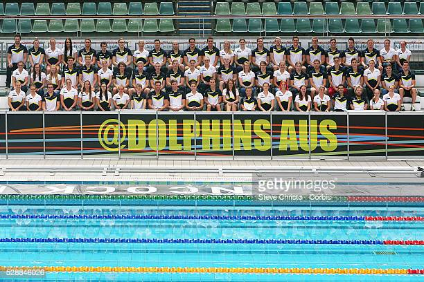The Australian Dolphins swim team pose for a team picture after the Hancock Prospecting Australian Swimming Championships at the Sydney Aquatic...
