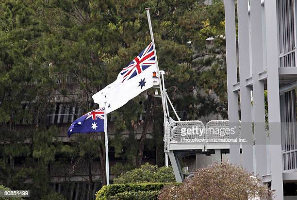 The Australian flag flies at full mast outside the home of radio veteran John Laws on ANZAC Day April 25 2008 in Sydney Australia Traditionally as...