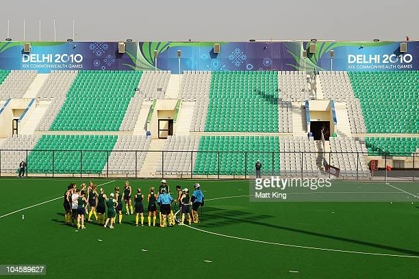 The Australian Hockeyroos talk after a practice match between the Australian Hockeyroos and Canada at the Major Dhyan Chand National Stadium ahead of...