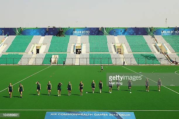 The Australian Hockeyroos warm up before a practice match between the Australian Hockeyroos and Canada at the Major Dhyan Chand National Stadium...