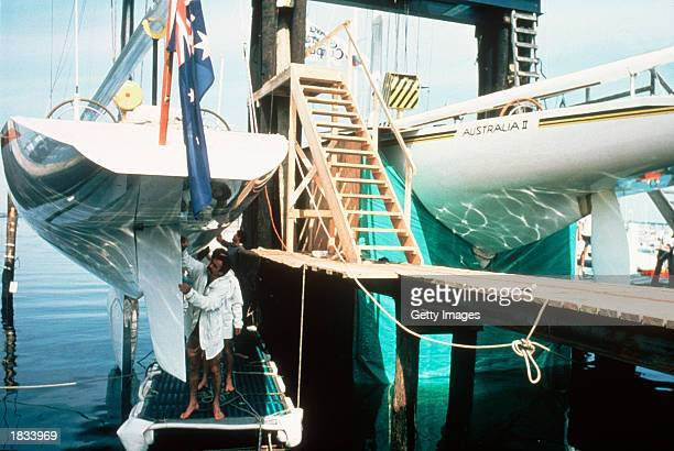 The Australian II Team shrouds the Australia II's controversial keel from inspection before the America's Cup race 1983 held in NewportUSA in 1983