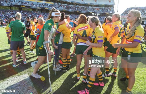 The Australian Jillaroos celebrate victory during the 2017 Auckland Nines match between the Australian Jillaroos and the Kiwi Ferns at Eden Park on...