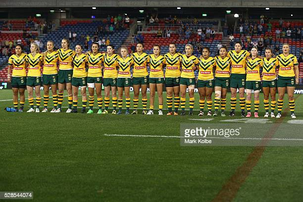 The Australian Jillaroos sing the national anthem during the Women's international Rugby League Test match between the Australian Jillaroos and New...