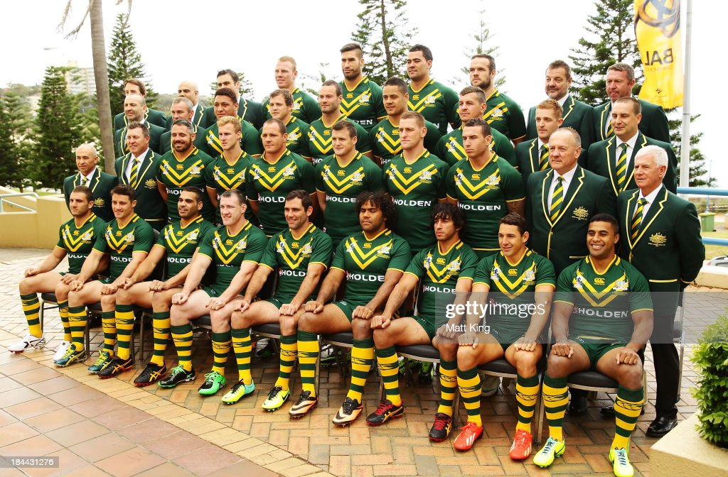 The Australian Kangaroos team pose for a team photo during an Australian Kangaroos Rugby League World Cup teamphoto session at Crowne Plaza, Coogee on October 14, 2013 in Sydney, Australia.