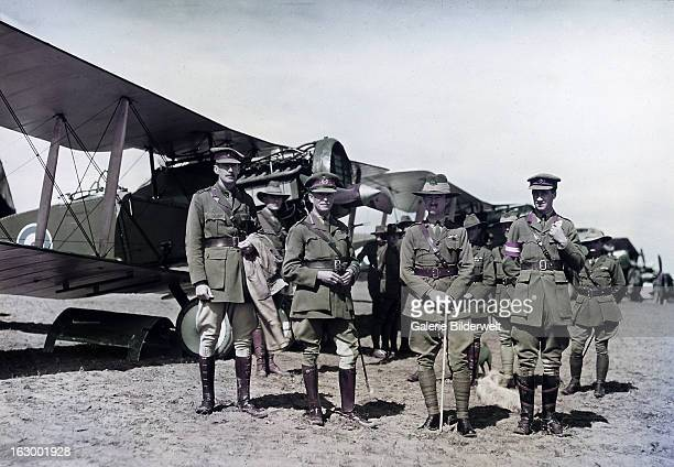 The Australian LieutenantGeneral Harry Chauvel and other officers inspect the No 1 Squadron Australian Flying Corps Behind the group are soldiers...