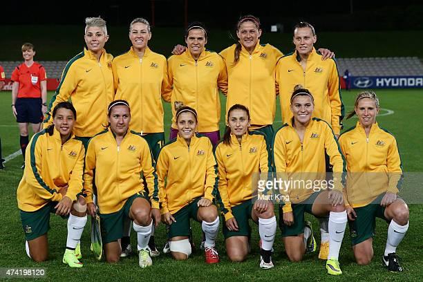 The Australian Matildas line up before the international women's friendly match between the Australian Matildas and Vietnam at WIN Jubilee Stadium on...